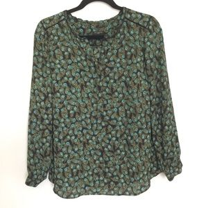Talbots Petites Peacock Feather Printed Blouse